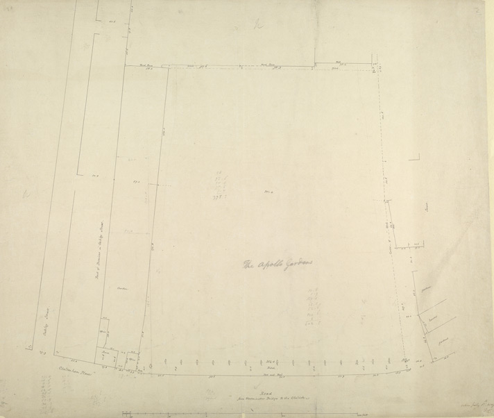 [Drawn plan of a plot of land called the Apollo Gardens, lying next the Westminster Bridge Road to the Obelisk]